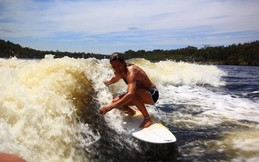 Wake surfing fun