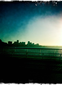 Leaving the city at sunrise,